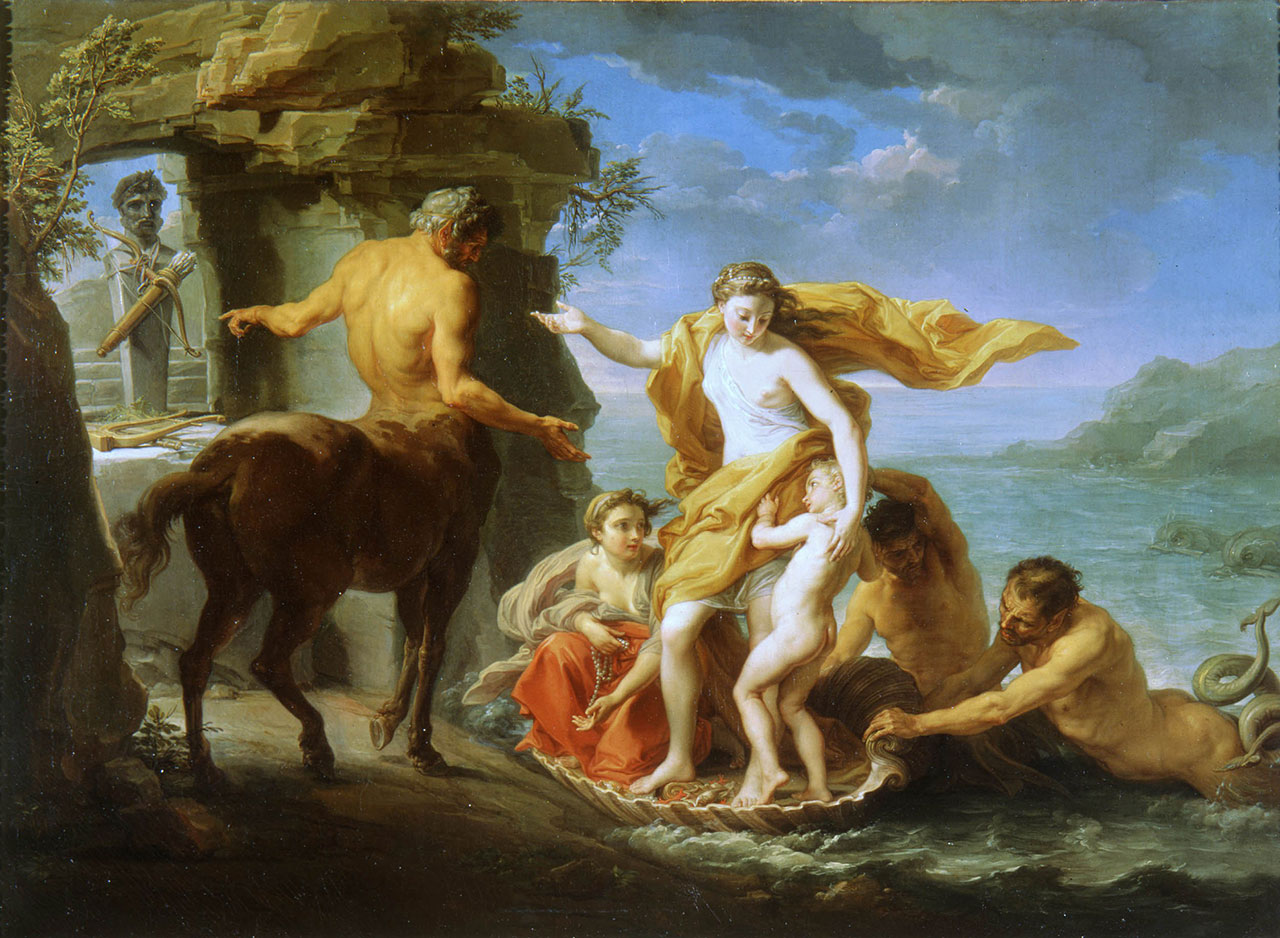 Teti affida Achille al centauro Chirone