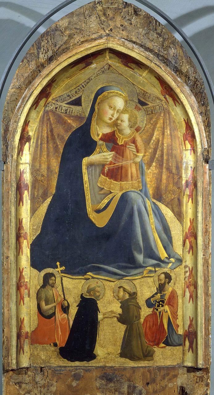 Madonna dell'umiltà, i santi Giovanni Battista e Paolo e l'incontro dei santi Domenico e Francesco; nella cornice, Quattordici serafini