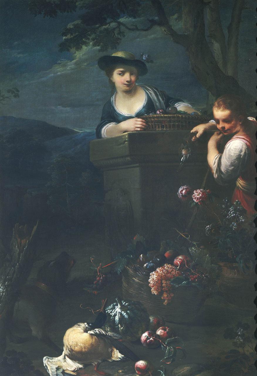 Natura morta con selvaggina, frutta e fiori con due ragazzi e un cane