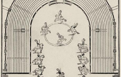 Pianta del Teatro Farnese con carosello equestre allestito per il matrimonio di Antonio Farnese ed Enrichetta d'Este (1728)