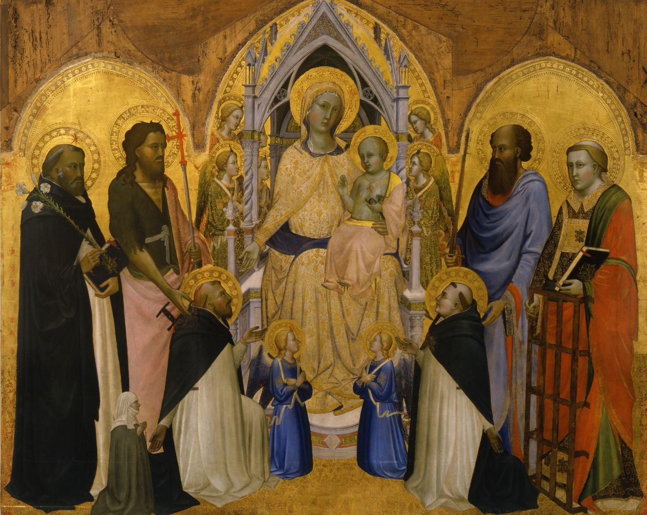 Madonna col Bambino in trono fra angeli e i santi Domenico, Giovanni Battista, Pietro martire (a sinistra, genuflesso), Paolo, Lorenzo, Tommaso d'Aquino (a destra, genuflesso), e una monaca in preghiera