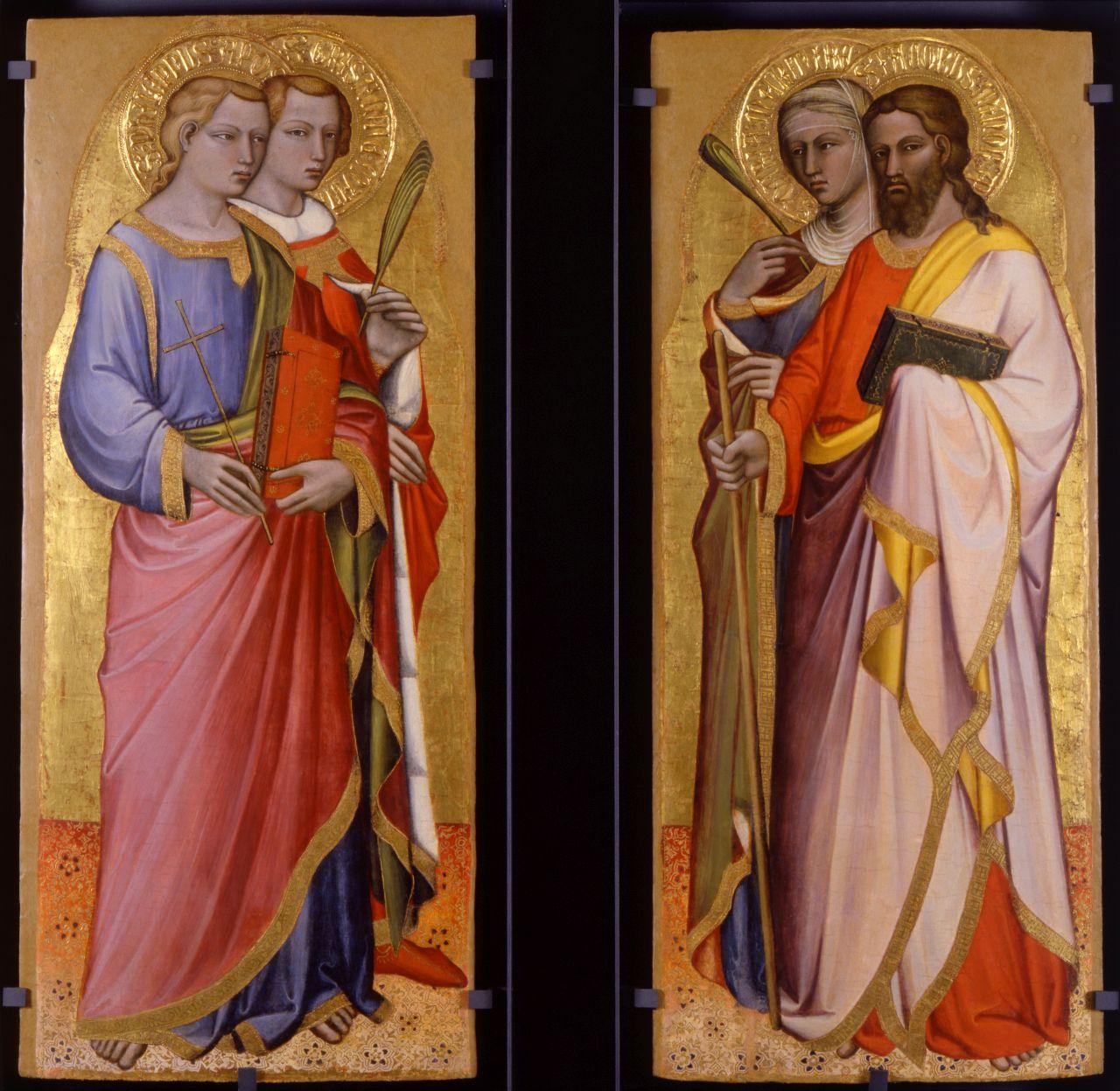 Filippo apostolo e Grisante martire; a destra, i Santi Daria martire e Giacomo minore apostolo