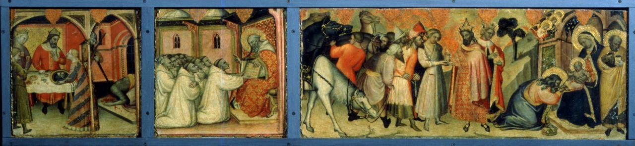 Decapitazione del Battista e il banchetto di Erode; Adorazione dei Magi; San Benedetto benedice i monaci