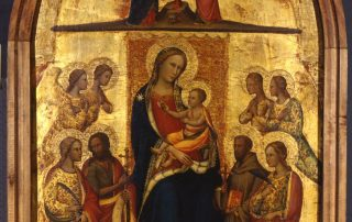 Madonna col Bambino in trono fra quattro angeli e i santi Caterina d'Alessandria, Giovanni Battista, Francesco d'Assisi, una santa martire, ed Eva con il serpente; nella cuspide, Cristo crocifisso fra la Madonna e san Giovanni dolenti