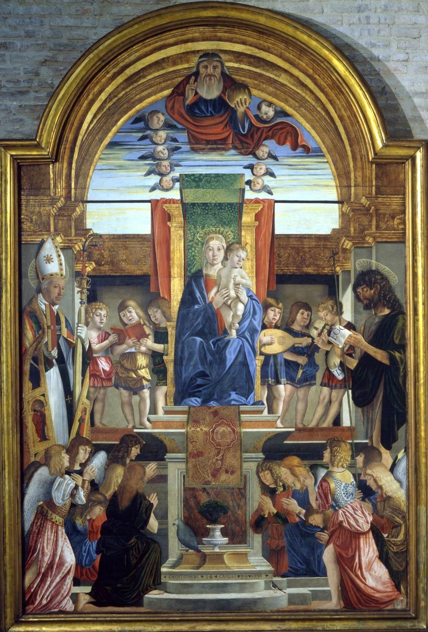 immagine per Madonna col Bambino in trono, i santi Ilario e Giovanni Battista, angeli musici e cantori, Dio Padre Benedicente