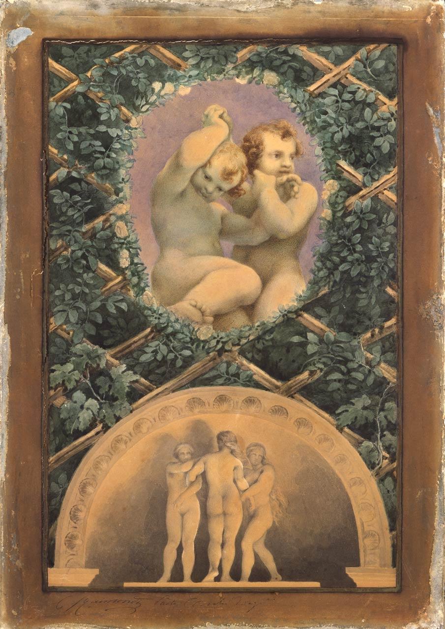 immagine per Ovato con Due putti; lunetta con le Tre Grazie (da Correggio)