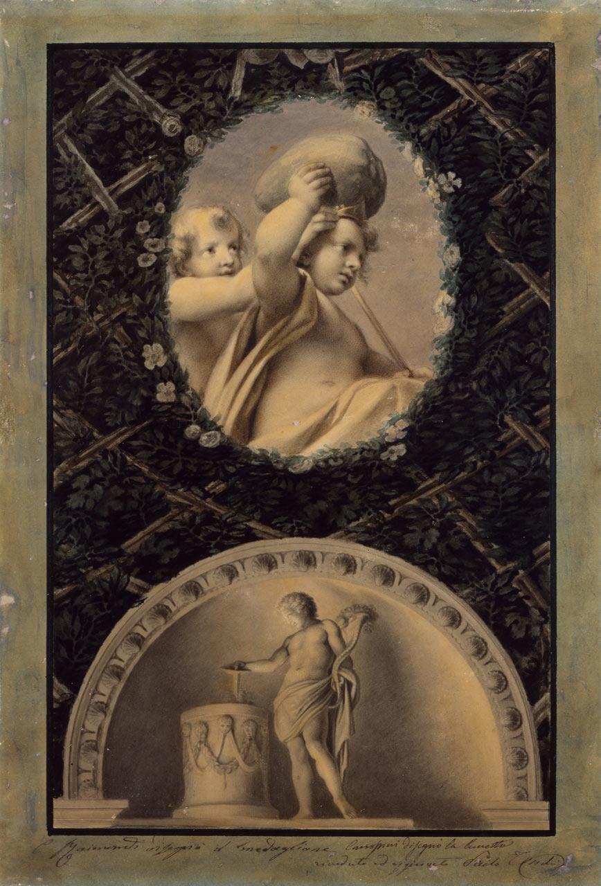 immagine per Ovato con Putti che sorreggono un masso; lunetta con il Genius (da Correggio)
