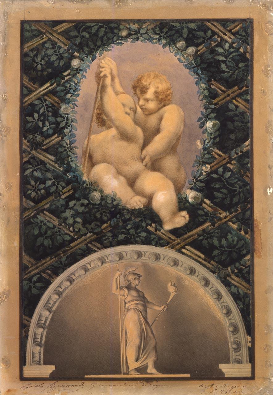 immagine per Ovato con Putti e asta; lunetta con Minerva o Bellona (da Correggio)