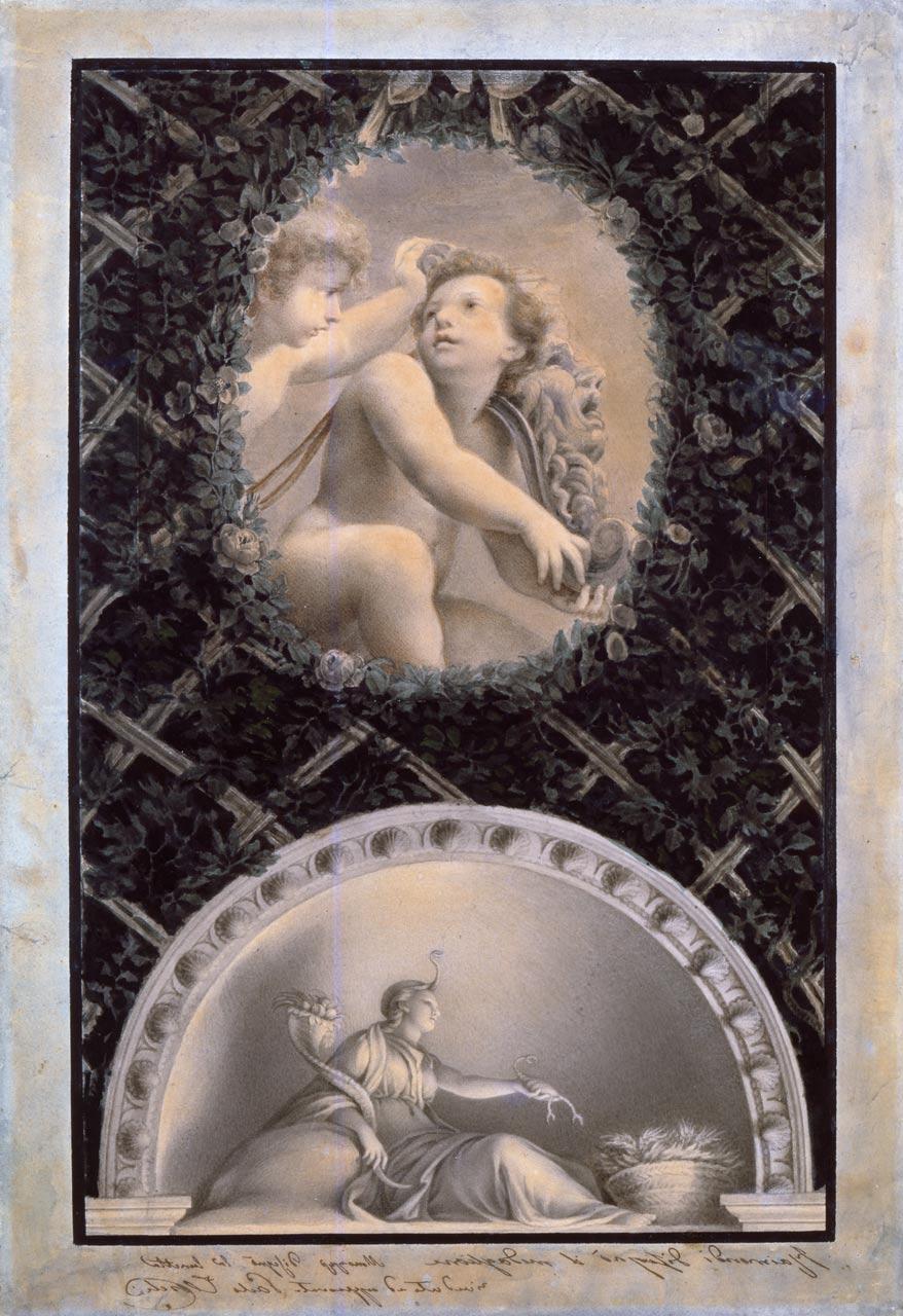 immagine per Ovato con Putti e mascherone; lunetta con la Terra (da Correggio)